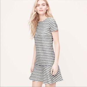 ANN TAYLOR LOFT stripe tweed peplum dress